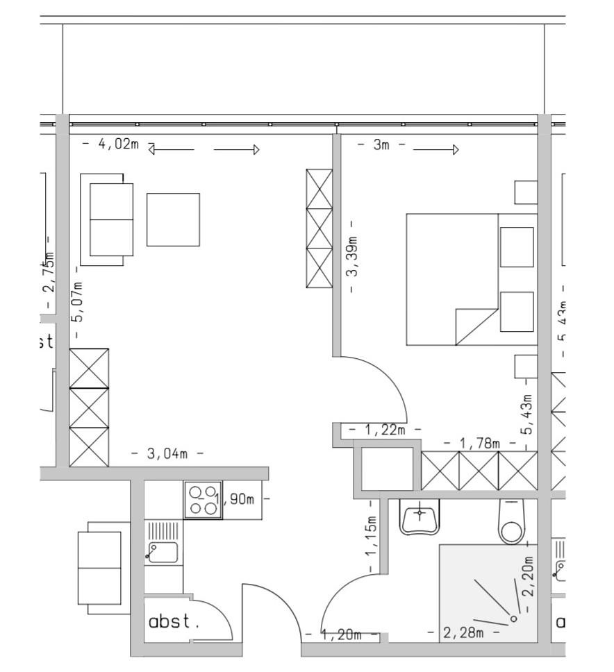 Wohneinheit mit 56 m²