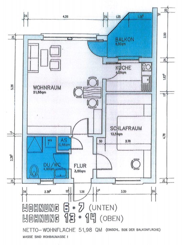 Wohneinheit mit 52 m²
